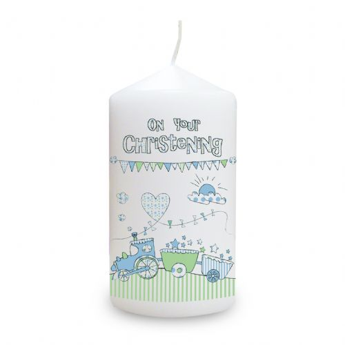 Personalised Whimsical Train Christening Candle